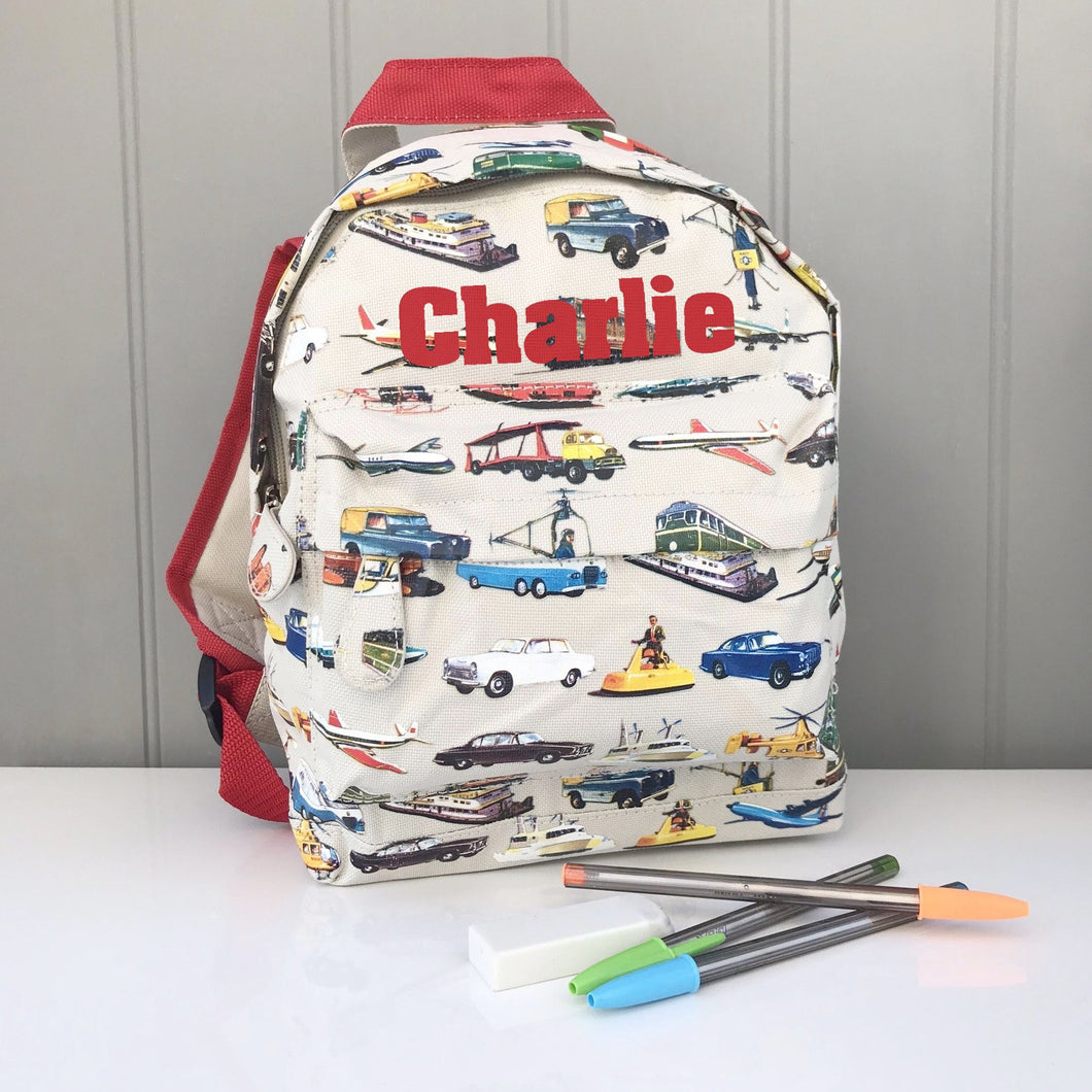 Vintage Vehicle Personalised Backpack