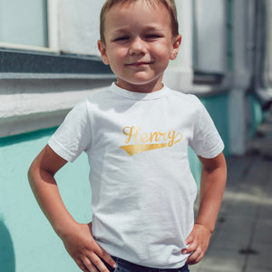 gold foil name boys t-shirt