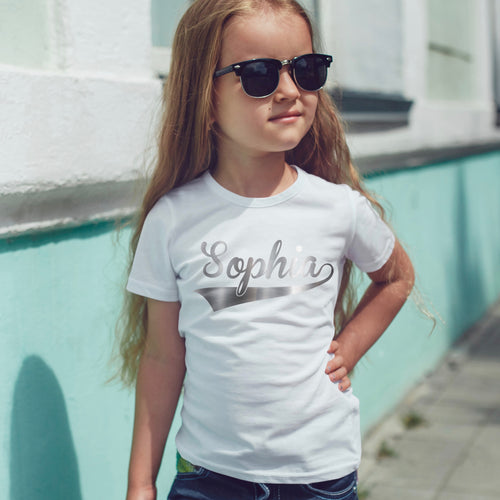 Girls Personalised Swoosh T-Shirt