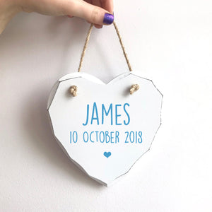 Personalised Baby Birth Wooden Heart