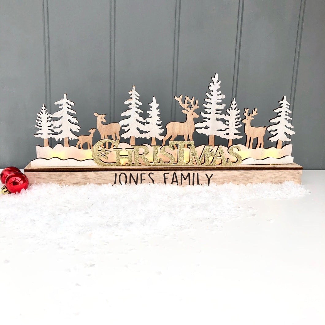 Christmas Light Up Forest and Reindeer Scene