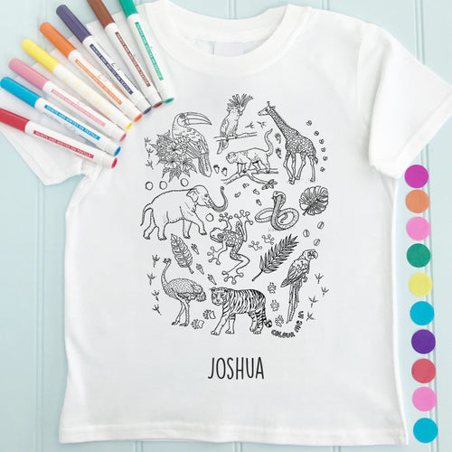 Zoo T-Shirt Personalised To Colour in