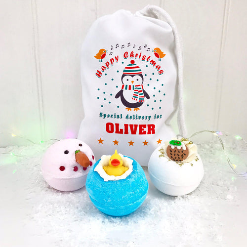 Personalised Christmas Bath Bomb Set