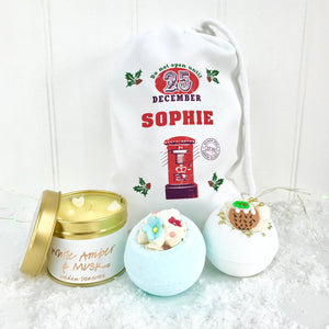 Personalised Postbox Bomb Set and Candle