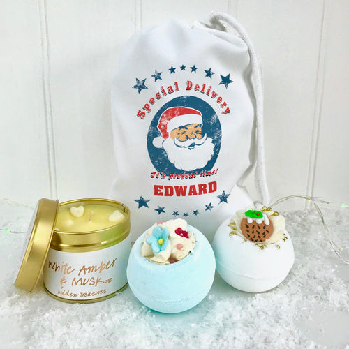 Personalised Santa Bomb Set and Candle