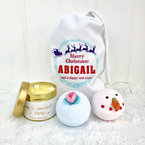 Personalised Sleigh Bomb Set and Candle