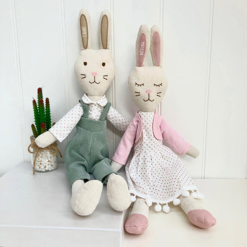 Personalised Linen Rabbit Soft Toy