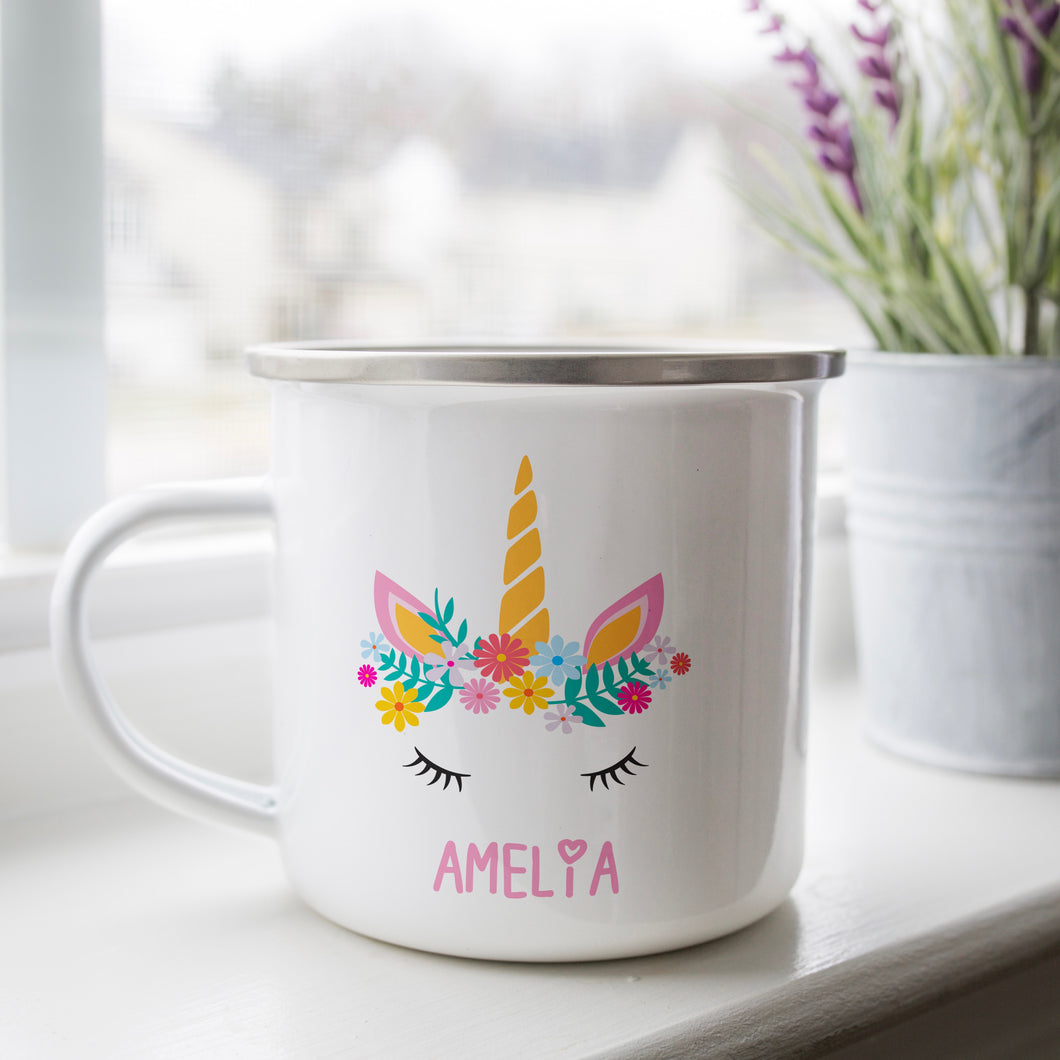 Personalised Enamel Unicorn Mug