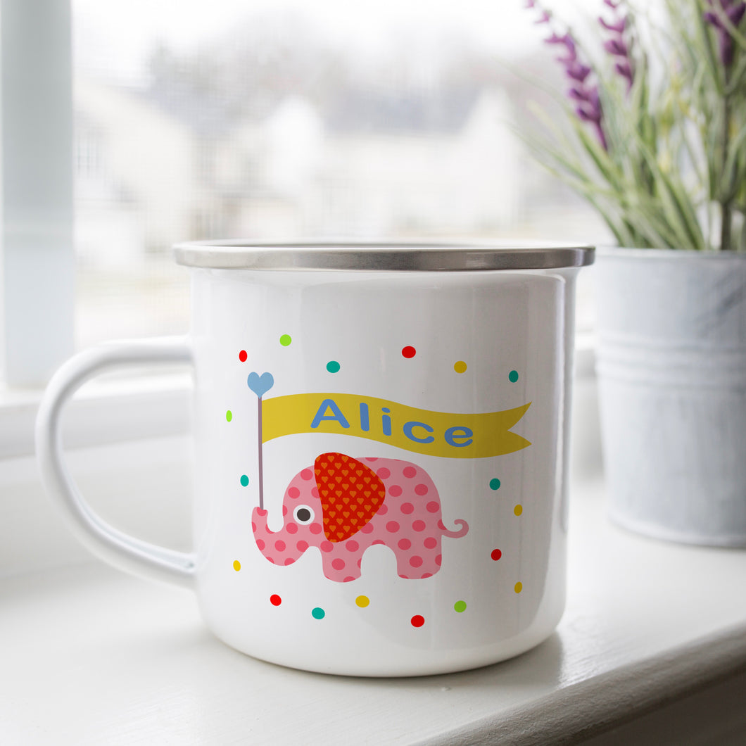 Personalised Enamel Elephant Mug