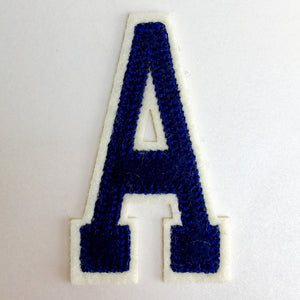 Embroidered Iron On Varsity Alphabet Letters Blue