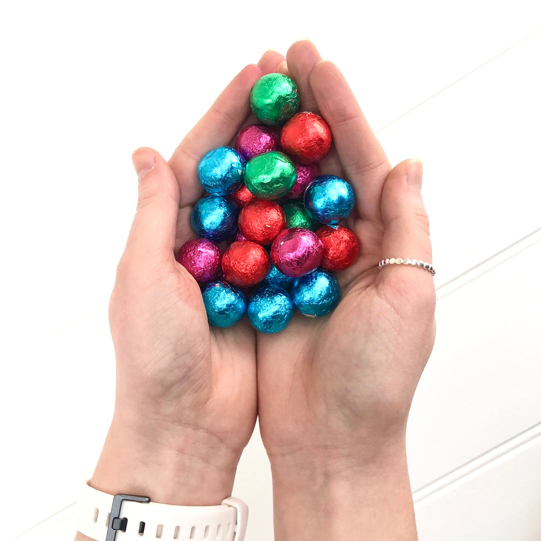 100 grams Of Chocolate Foil Wrapped Balls