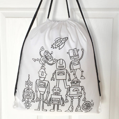 Colour Me In Robots Drawstring Bag