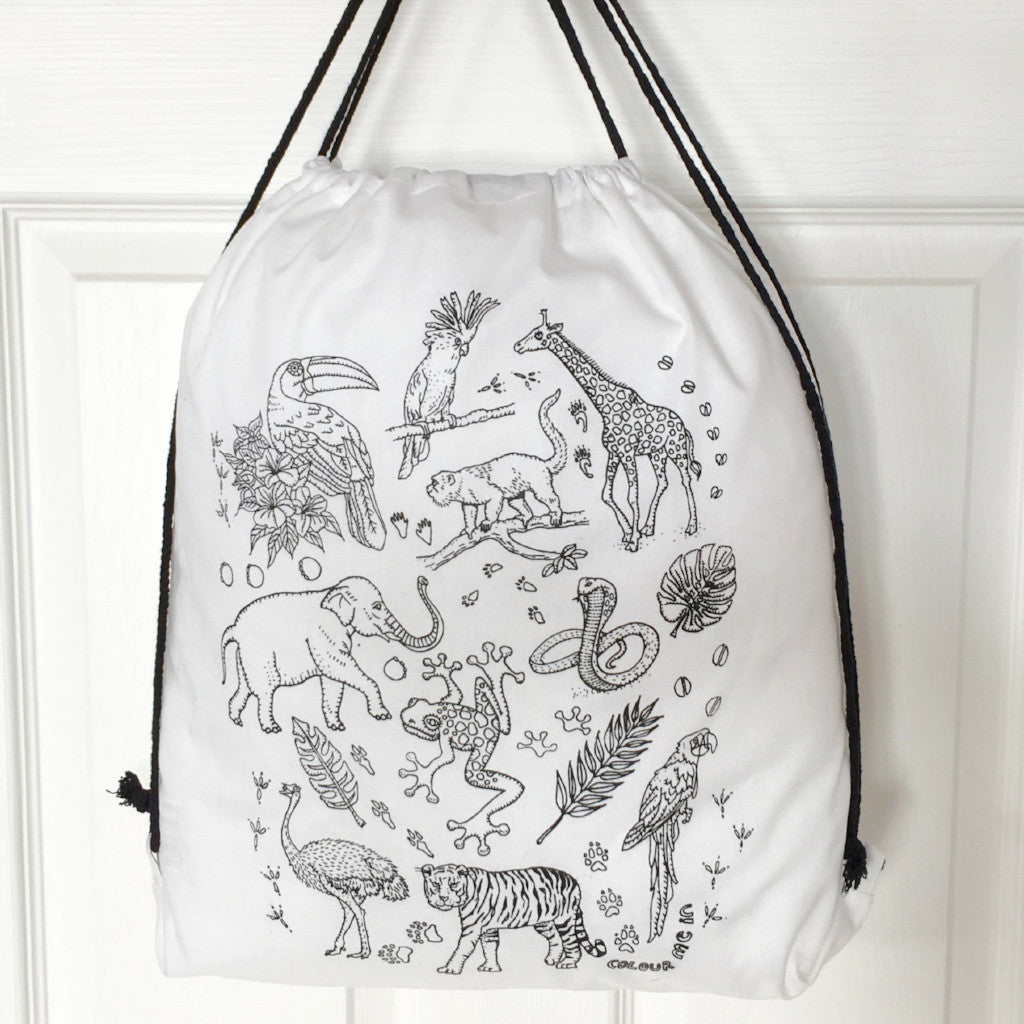 Colour Me In Zoo Drawstring Bag