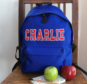 Personalised Backpack Varsity Style