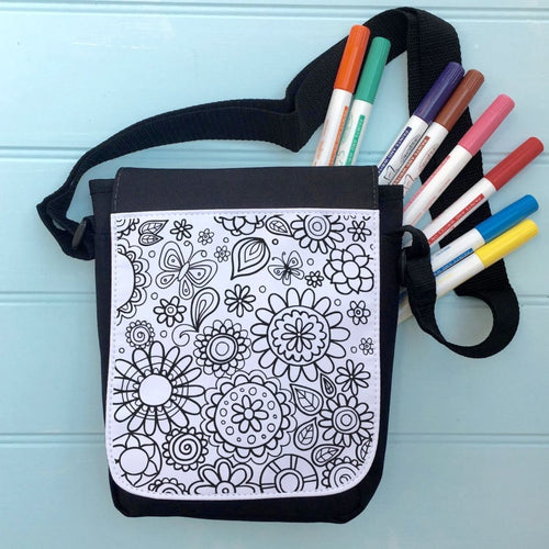 Flower Power Colour In Bag For iPad With Across the Body Strap