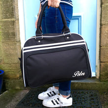 Weekend Bag Blue with Name Retro Styling Holdall