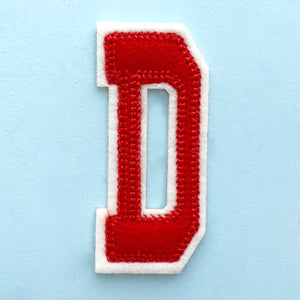 Embroidered Iron On Varsity Alphabet Letters Red