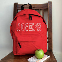 Personalised Applique Name Rucksack Varsity Style