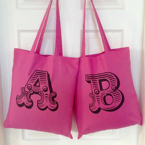 Personalised Alphabet Letter Tote Bag Pink