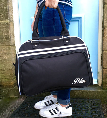 Personalised Weekend Bag Black with Name Retro Styling