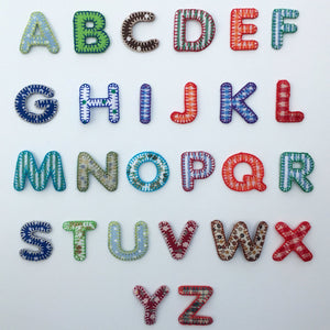 Embroidered Iron On Patchwork Alphabet Letters Blue/Green
