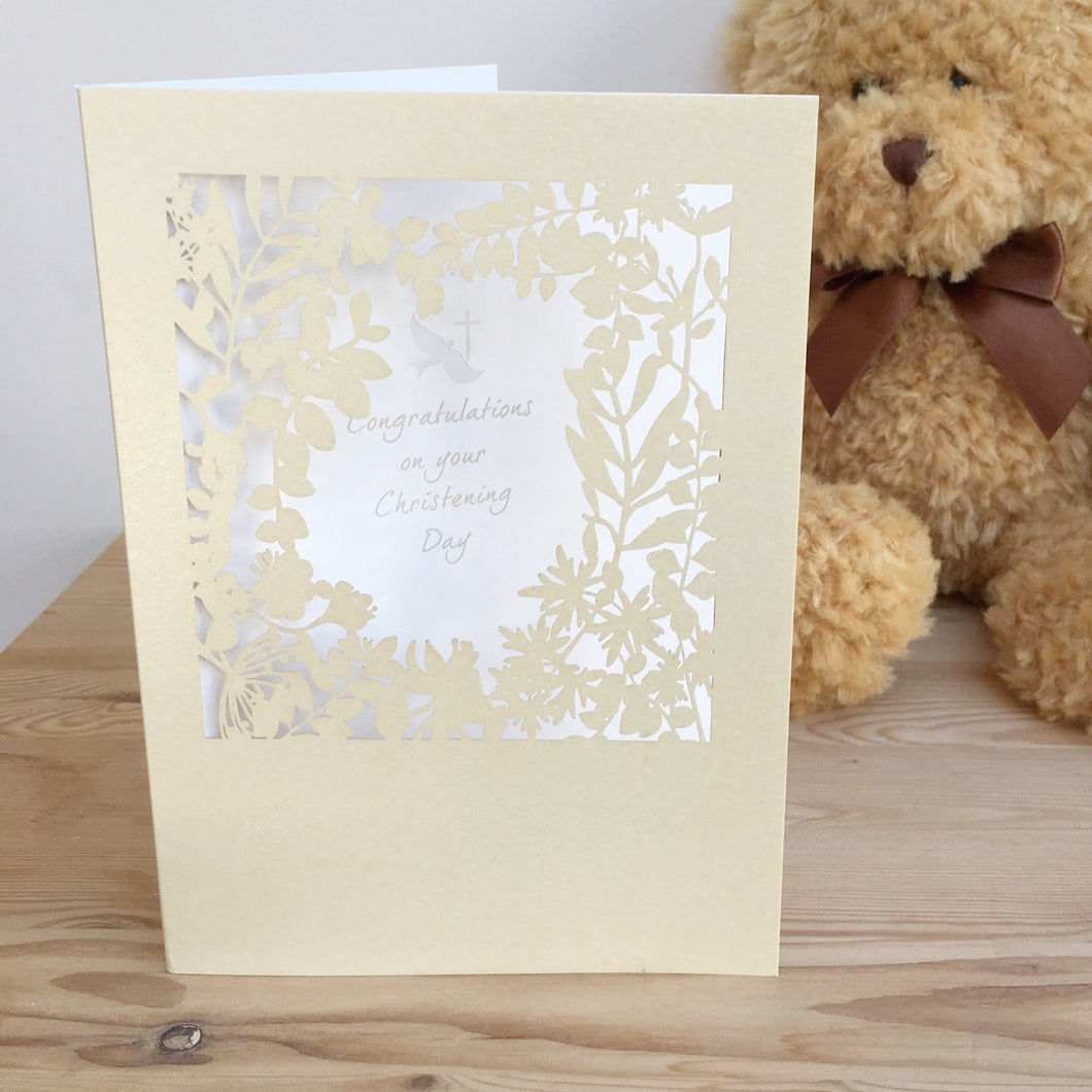 Christening Day Card Paper Cut Congratulations