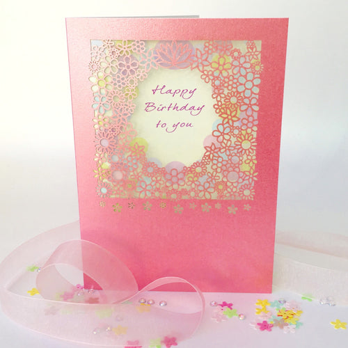 Delicate Cut Card Happy Birthday To You