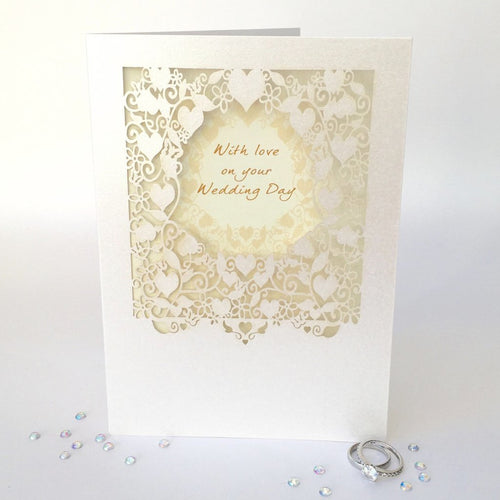Delicate Cut Card With Love on Your Wedding Day