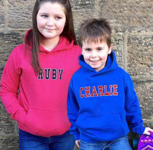 Personalised Kids Hoodie with Appliqué Varsity Names