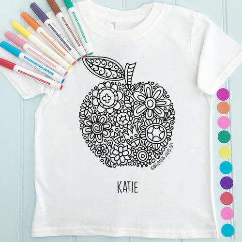 Apple Girls T-Shirt Personalised To Colour in