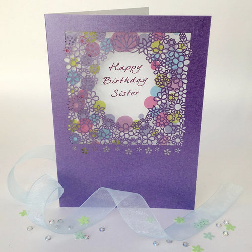 Delicate Cut Card Happy Birthday Sister