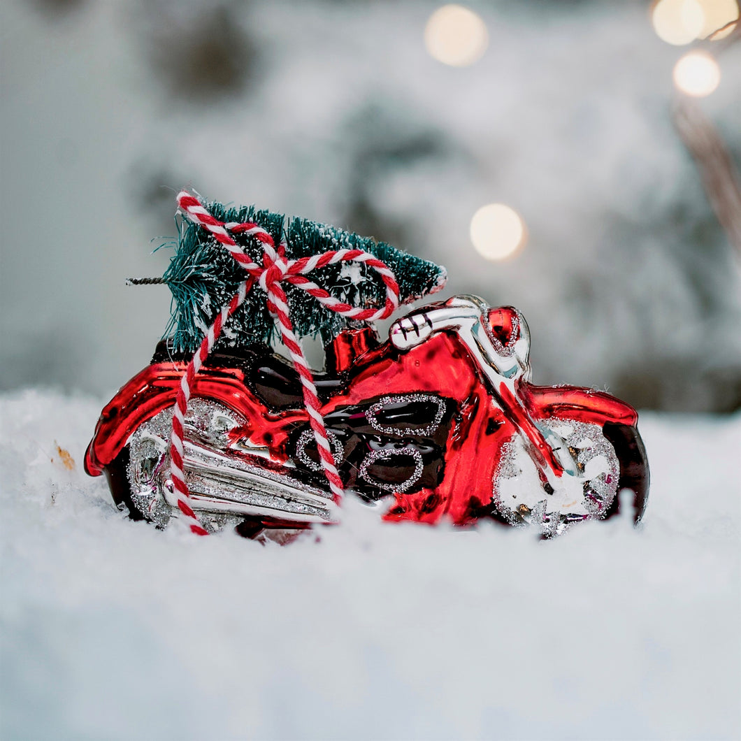 Christmas Glass Mototbike Decoration