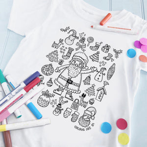 Christmas Santa T-Shirt To Colour in