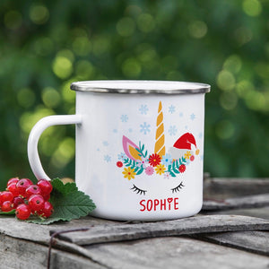 Christmas Unicorn Personalised Mug