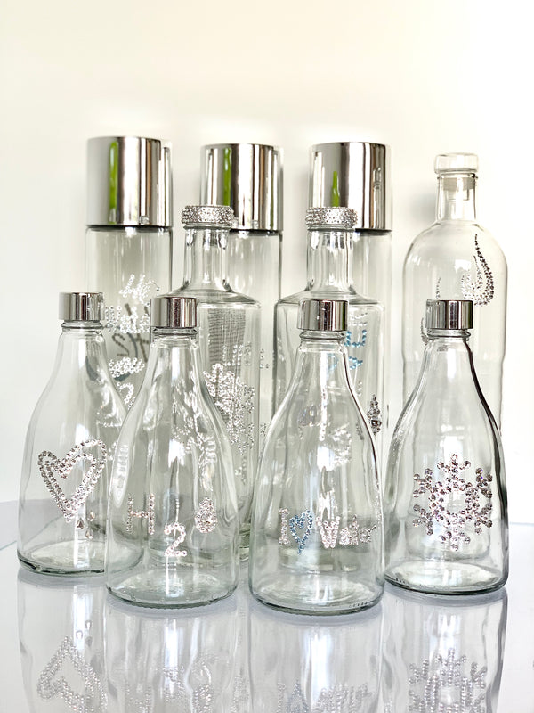 WaterGlam Store designed glass water bottles