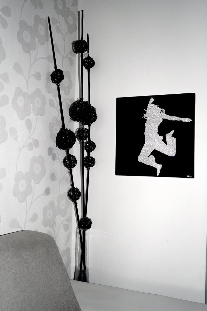 DANCING GIRL canvas artwork with real Swarovski® crystals to wall