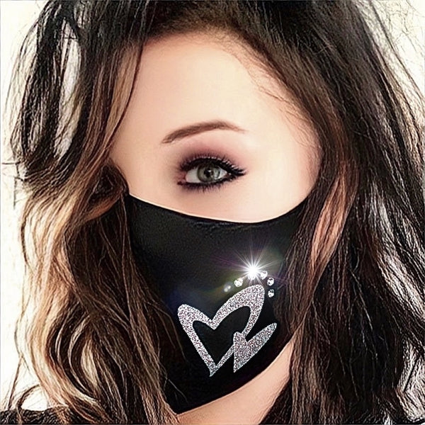 Silver heart decorated black Swarovski crystal-embellished FASHION FACE MASK