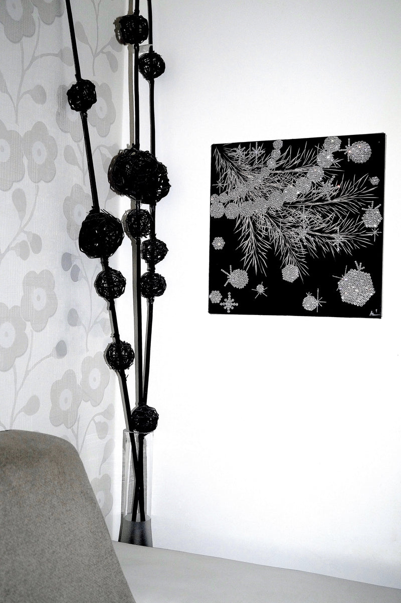 GLAMOUR canvas artwork with real Swarovski® crystals on wall