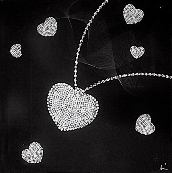 HEART NECKLACE canvas artwork with real Swarovski® crystals