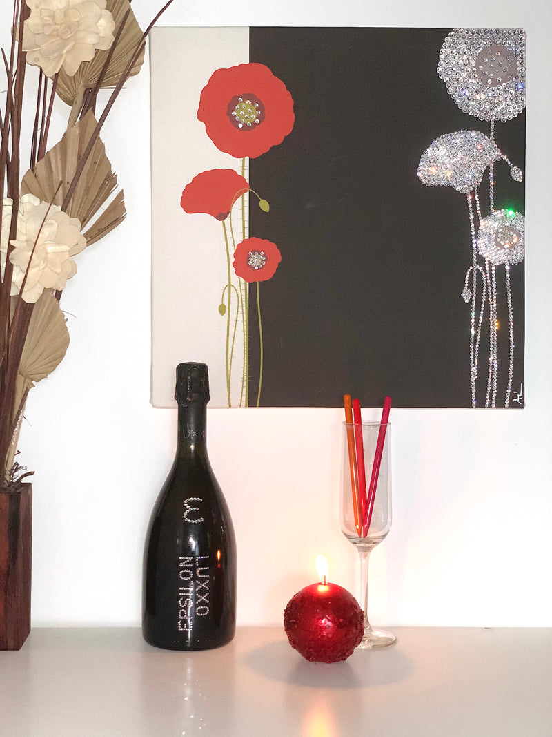 POPPY canvas artwork with real Swarovski® crystals luxury gift