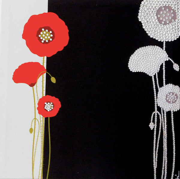 POPPY canvas artwork with real Swarovski® crystals