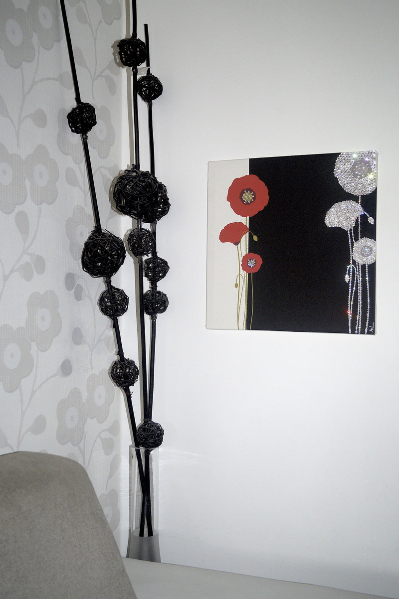 POPPY canvas artwork with real Swarovski® crystals on wall