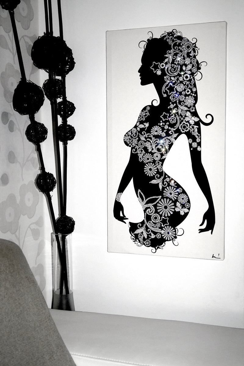 PRETTY WOMAN 1. canvas artwork with real Swarovski® crystals on wall
