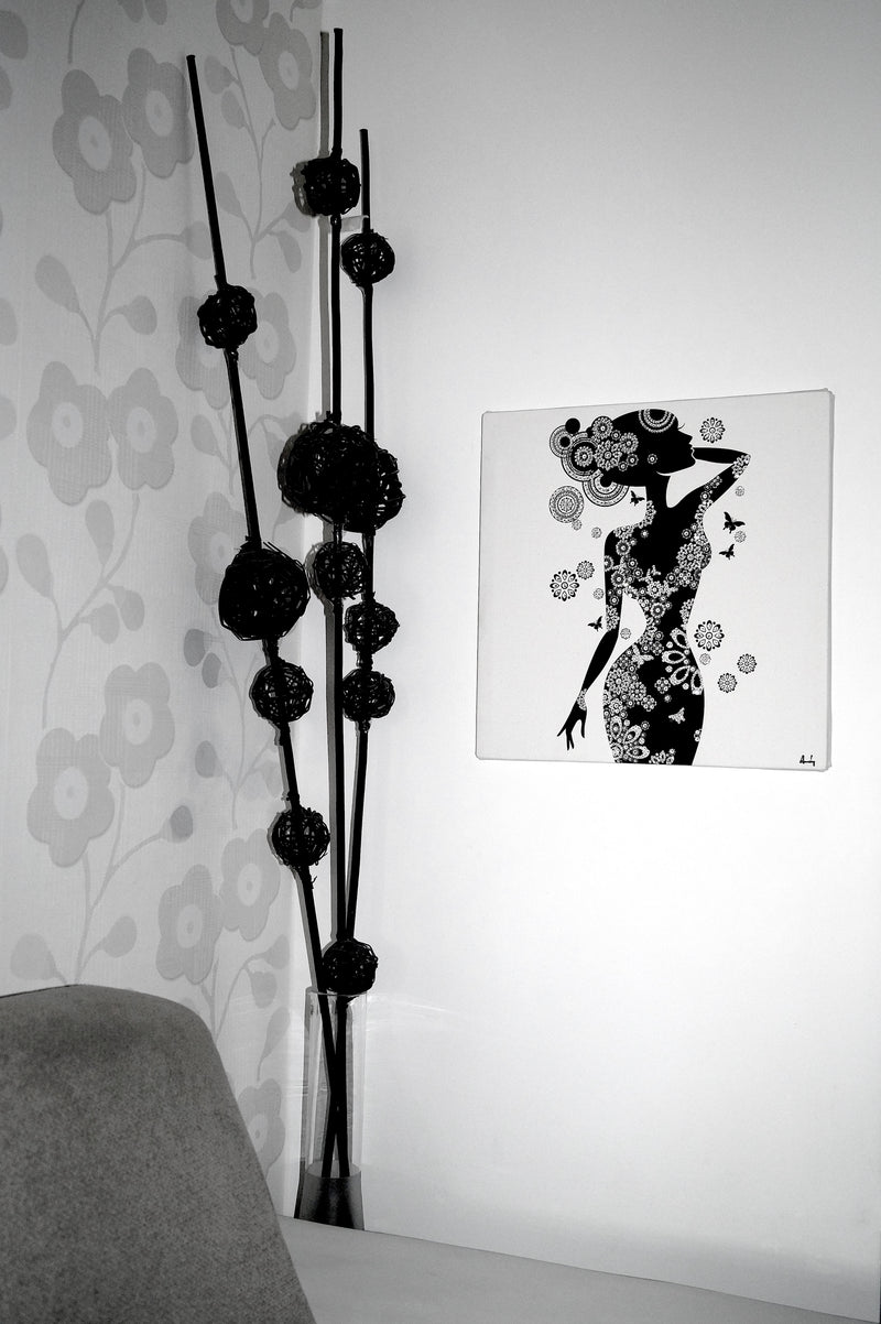 PRETTY WOMAN 2. canvas artwork with real Swarovski® crystals on wall