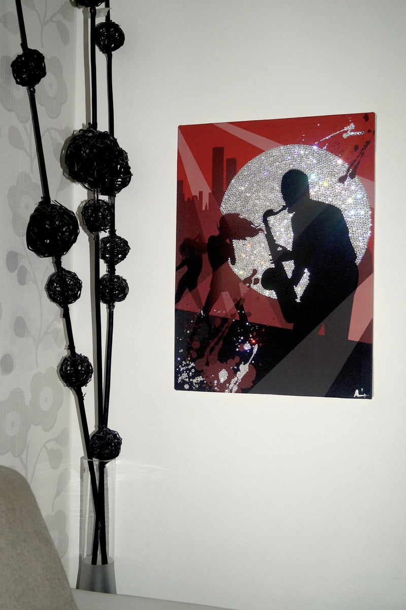 SAXOPHONE MOOD canvas artwork with real Swarovski® crystals on wall