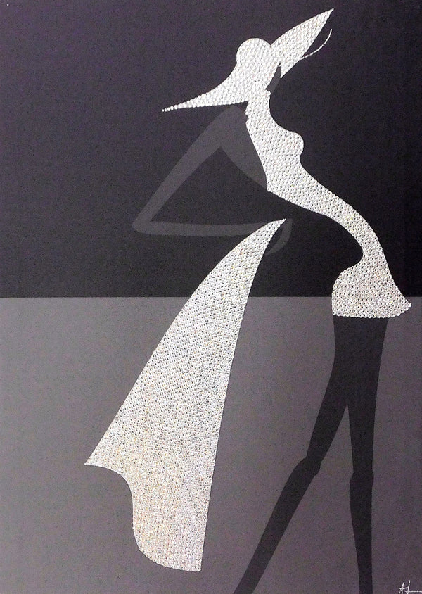 STYLISH WOMAN canvas artwork with real Swarovski® crystals