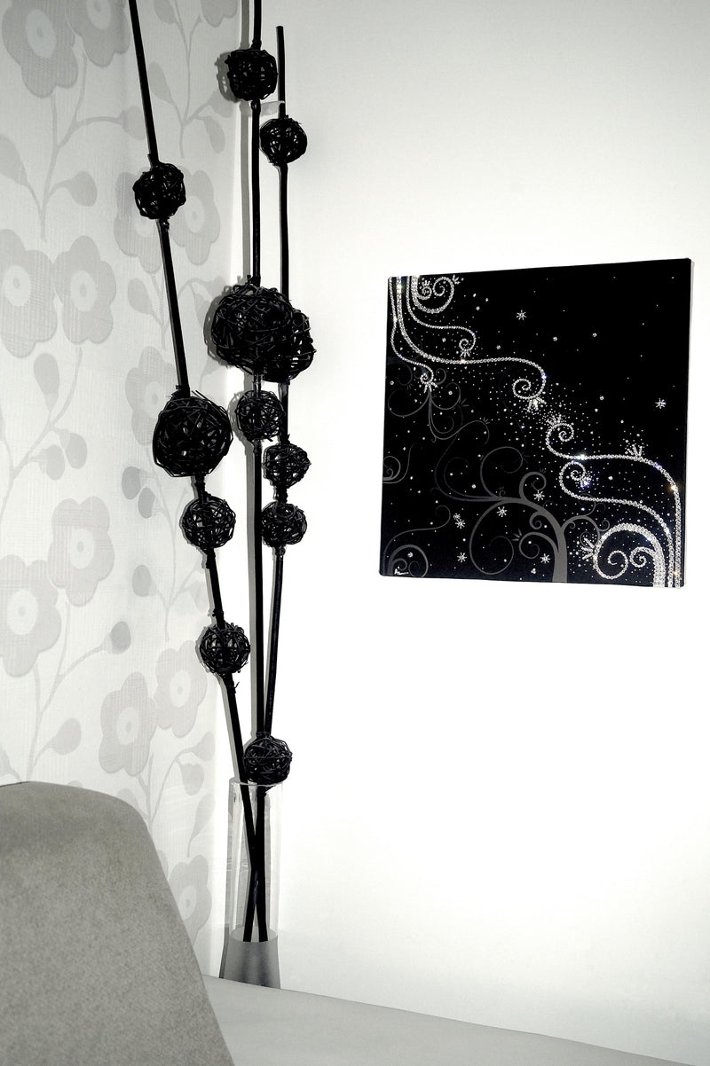 TENDRILS canvas artwork with real Swarovski® crystals on wall