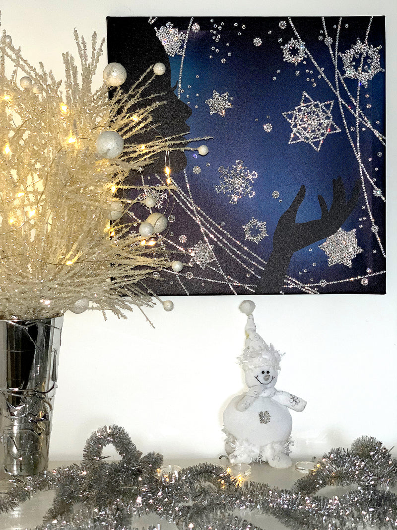 WINTER MAGIC canvas artwork with real Swarovski® crystals luxury gift
