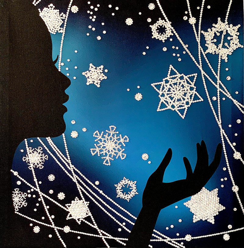 WINTER MAGIC canvas artwork with real Swarovski® crystals