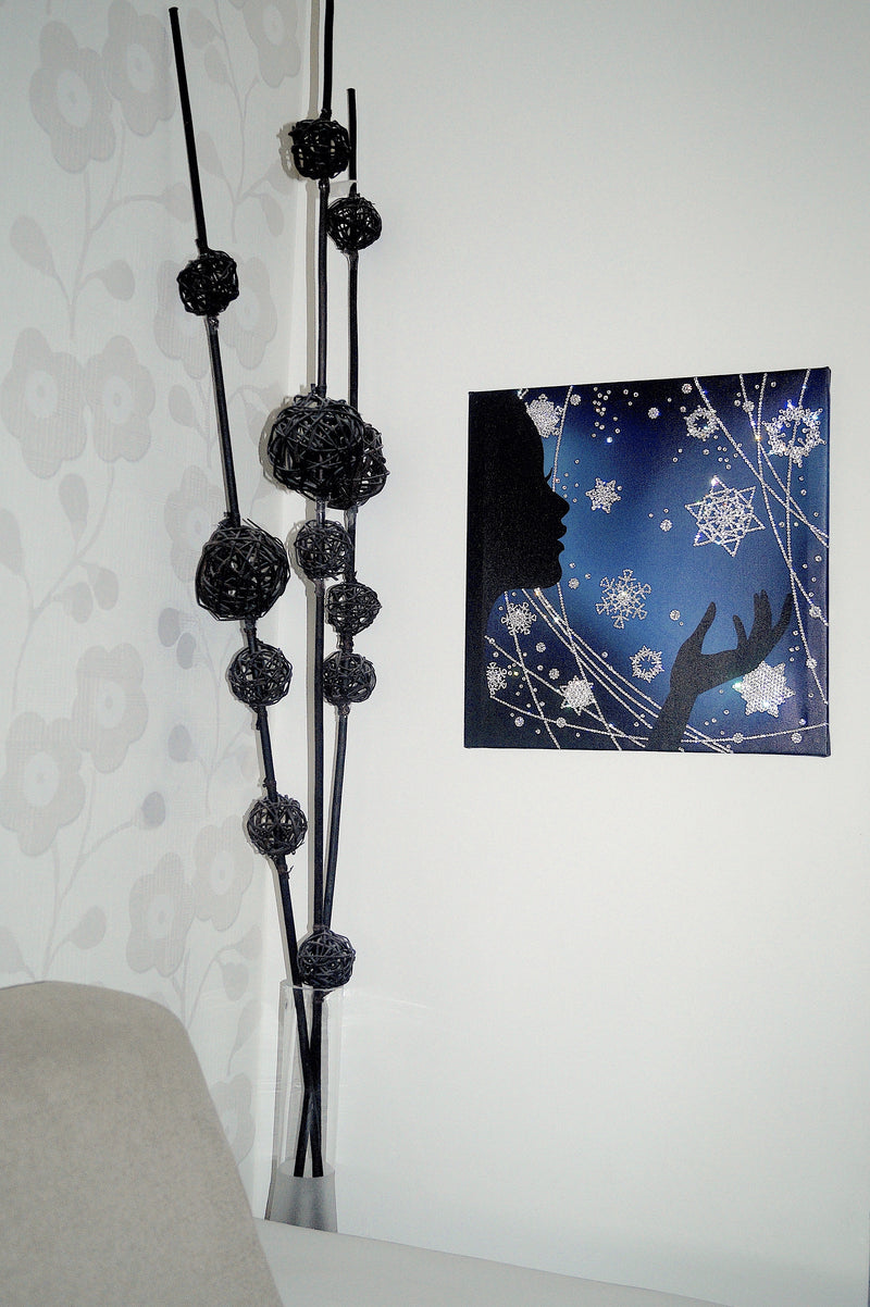 WINTER MAGIC canvas artwork with real Swarovski® crystals on the wall